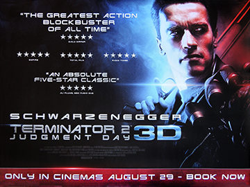 Terminator 2 3D rerelease movie quad poster