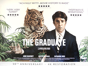 The Graduate 50th anniversary re-release movie quad poster